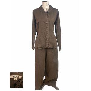 FLAX Dark Brown 2 Piece Linen Wide Leg Outfit